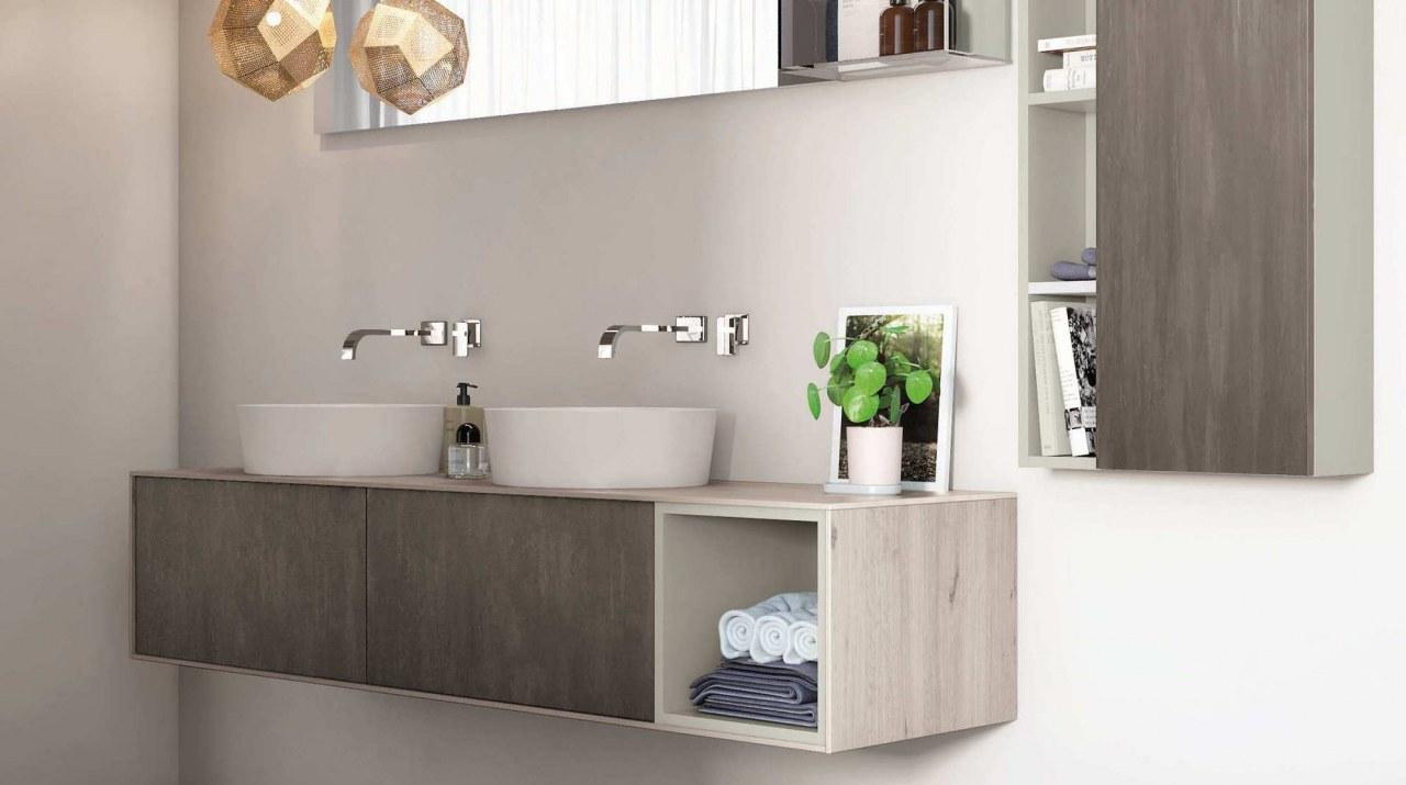 Auflagewaschtische auf Platte nach Maß mit Möbel in italienischem Design