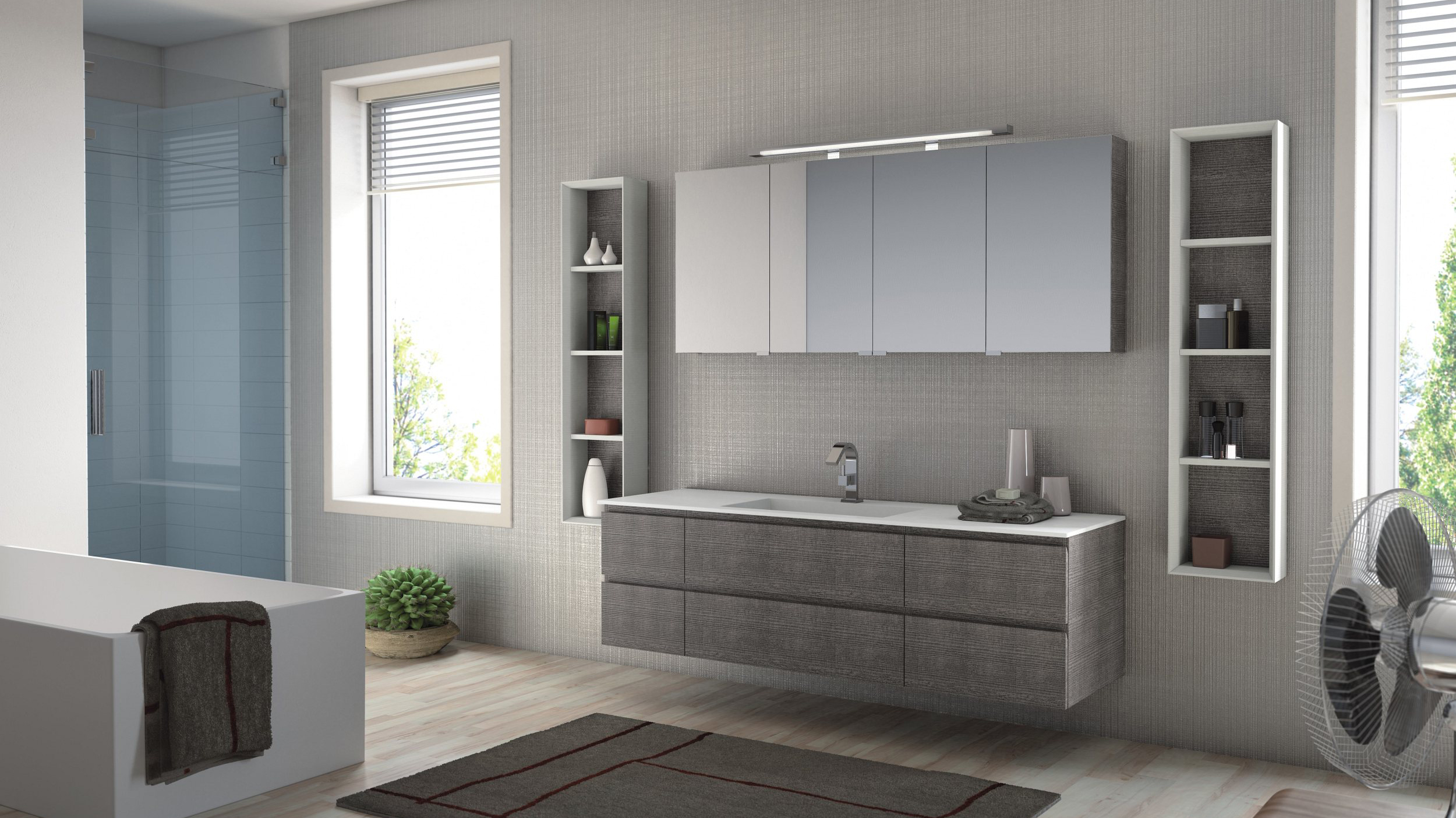 young t 12 individual badm bel mit waschtisch fugenlos mein bad direkt. Black Bedroom Furniture Sets. Home Design Ideas