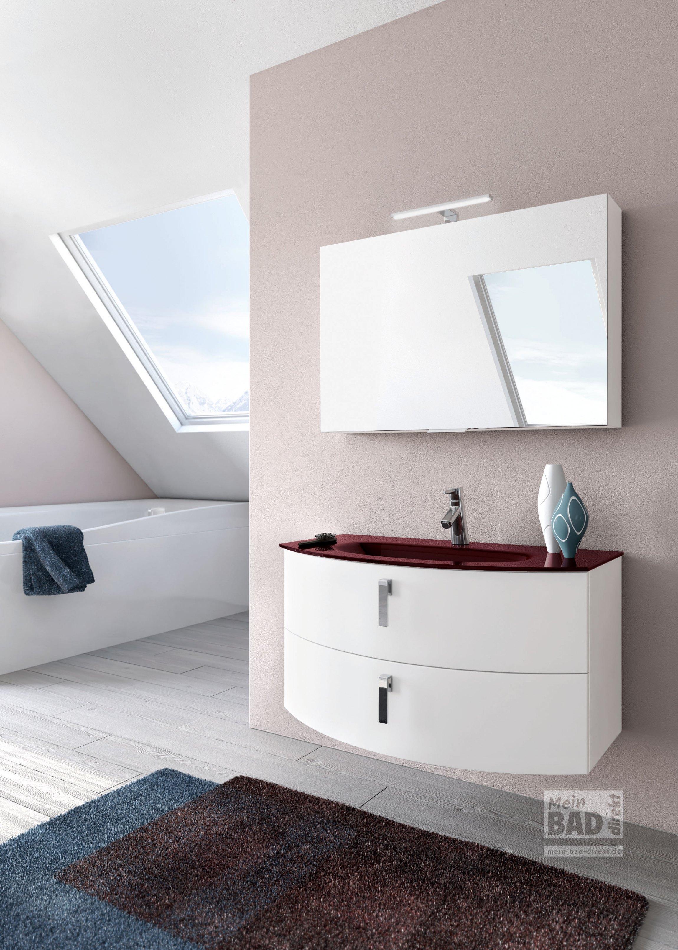 E-8 Modernes Badmöbel rund mit Glas-Waschtisch | Mein-Bad-Direkt