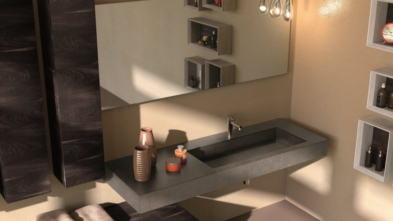 Exklusives dunkles Badmöbel und Waschplatz