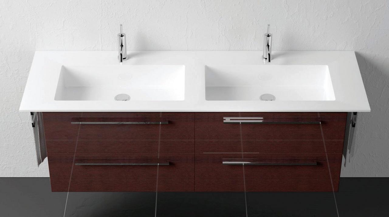 Doppel-Waschtisch Geacryl mit Unterschrank 160 cm