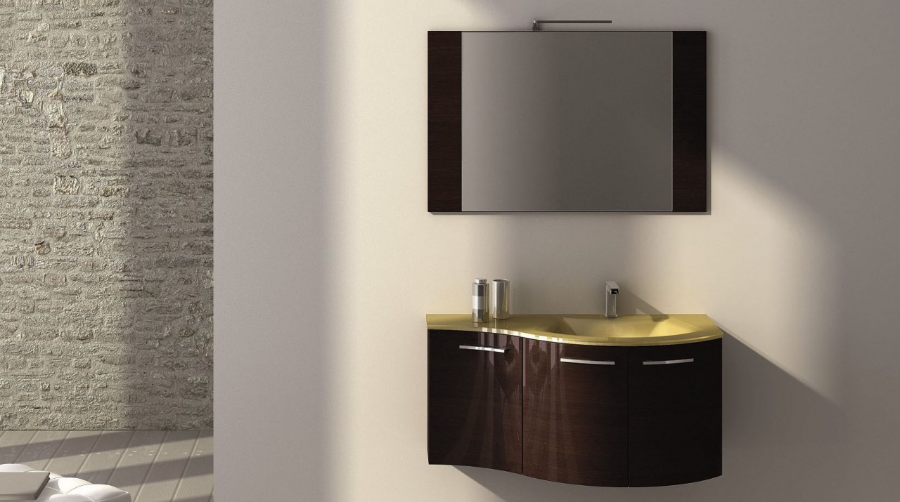 Goldfarbener Waschtisch aus Glas, dunkles Möbel: Einzigartig